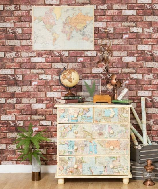Idées de fond d'écran de salon papier peint imitant des briques