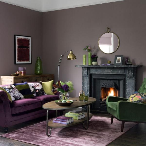 Idées de salon vert bel ensemble du vert et du violet