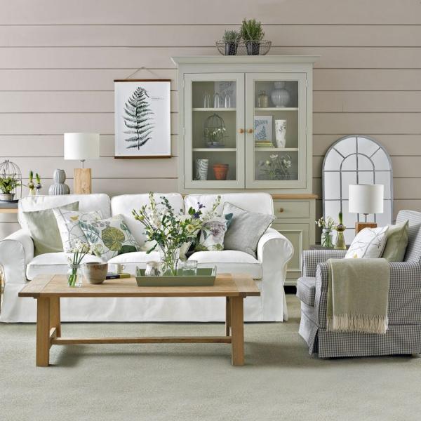 Idées de salon vert les meubles et le mur en blanc