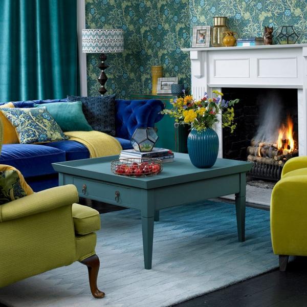 Idées de salon vert marriage entre les nuances du bleu vert jaune