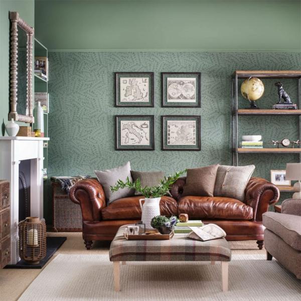Idées de salon vert mur et plafond vert