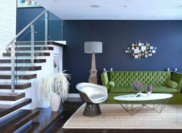 Idées de salon vert murs en bleu encre
