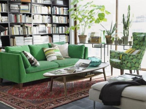 Idées de salon vert presence du vert dans les meubles