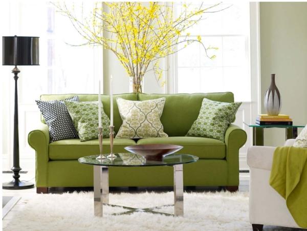 Idées de salon vert très spacieux mur vert tendre