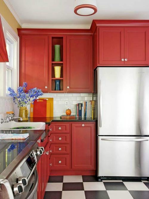 Idées pour armoires de cuisine en couleurs armoires en rouge