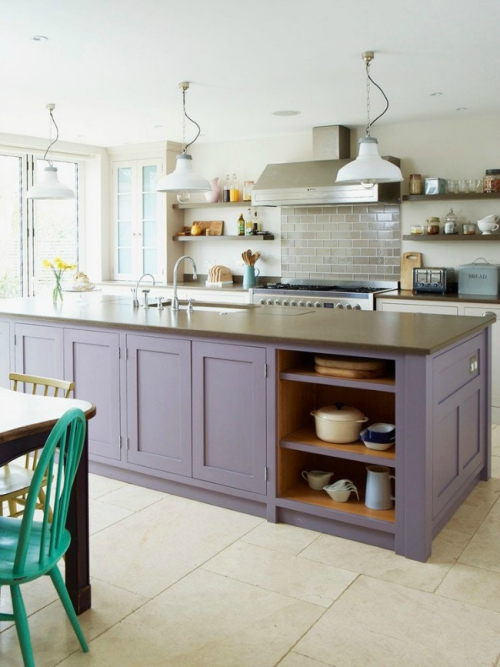 Idées pour armoires de cuisine en couleurs dosseret en briques grises