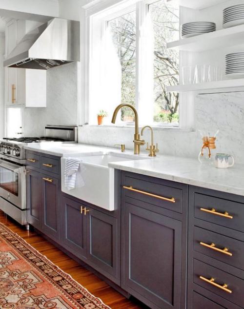 Idées pour armoires de cuisine en couleurs dosseret en marbre
