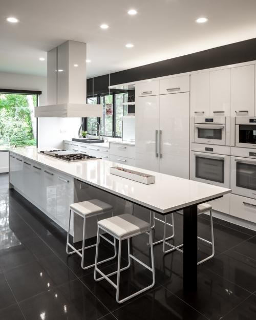 Idées pour cuisine en blanc et noir design grand espace en blanc