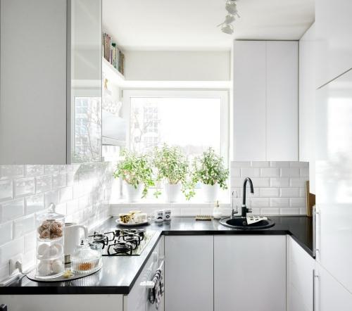 Idées pour cuisine en blanc et noir design petit espace blanc privilégié