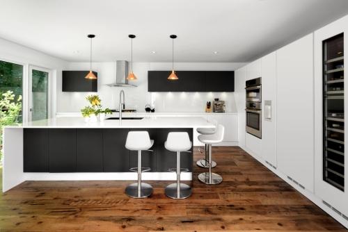 Idées pour cuisine en blanc et noir design placards et tiroirs en noir