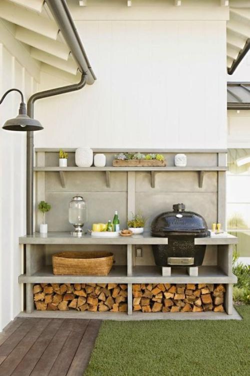 Idées pour cuisine extérieure coin barbecue dans le jardin