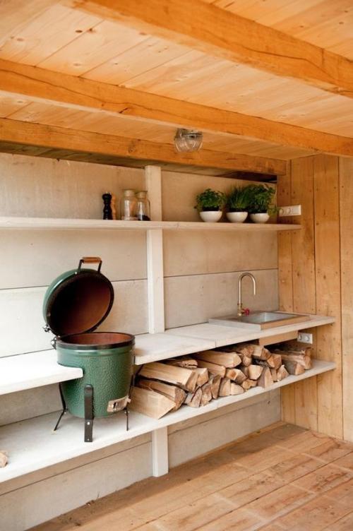 Idées pour cuisine extérieure grandes poutres du toit