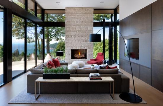 Idées pour décoration design du salon moderne canapé au milieu