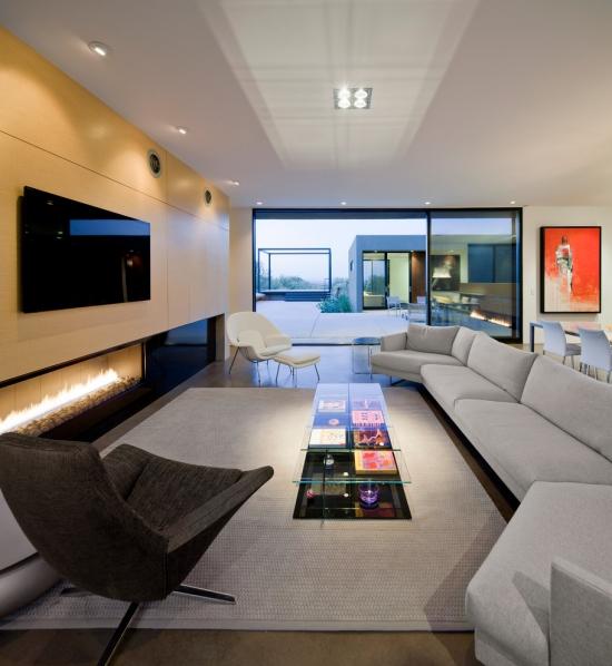 Idées pour décoration design du salon moderne grande longueur