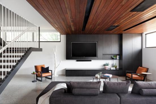 Idées pour décoration design du salon moderne gris blanc