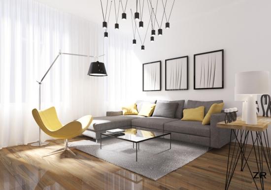 Idées pour décoration design du salon moderne joli pièce aux murs et rideaux blancs