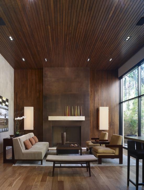 Idées pour décoration design du salon moderne plafond et mur en bois