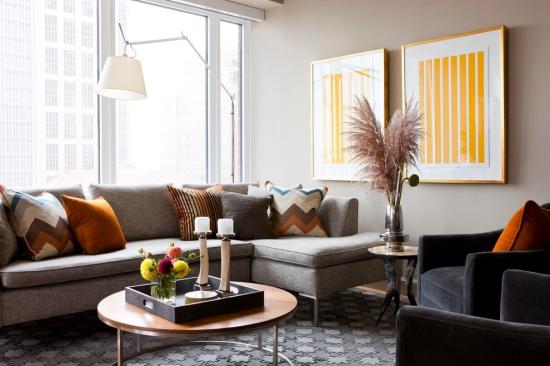 - Idées pour décoration design du salon moderne un canapé gris sur un tapis graphique