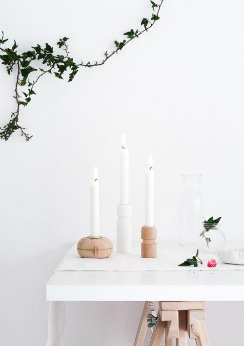 Les bougies fabriquées à la main bougeoirs en bois taillé