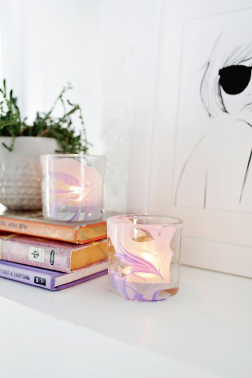 Les bougies fabriquées à la main récipients en verre épais