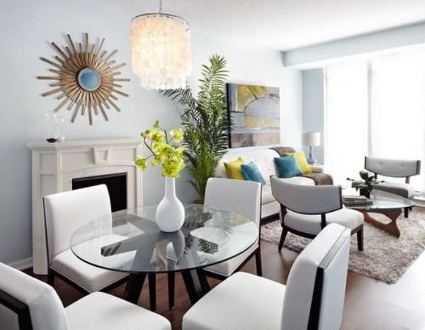 Salon avec salle à manger deux zones juxtaposées