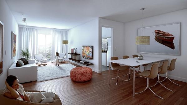 Salon avec salle à manger grande surface divisée en zones