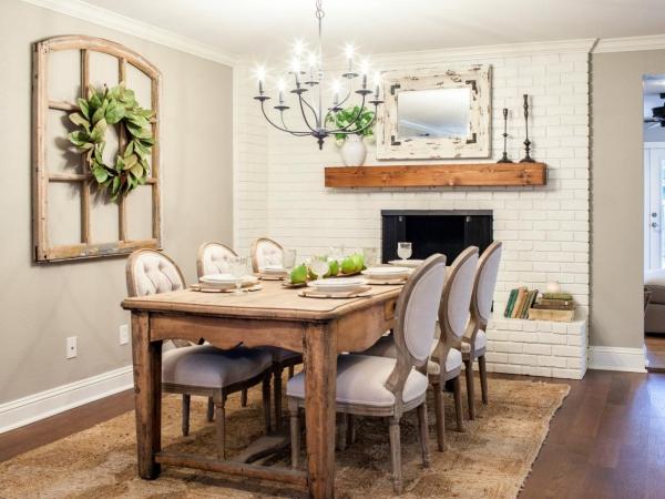 Salon avec salle à manger meubles en bois fumé