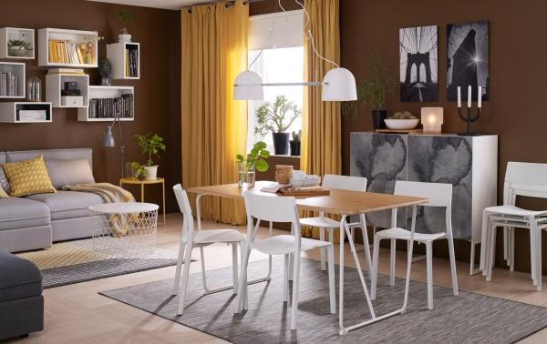 Salon avec salle à manger meubles légers