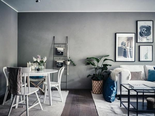 Salon avec salle à manger petit espace pour petite famille