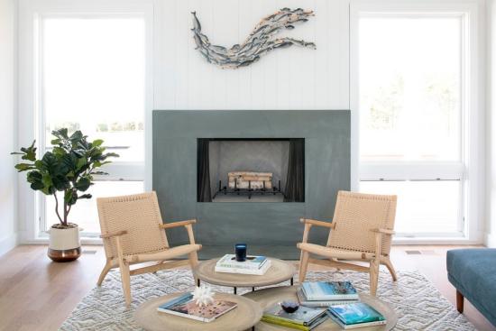 Salon bord de mer décoration cheminée gris de mer