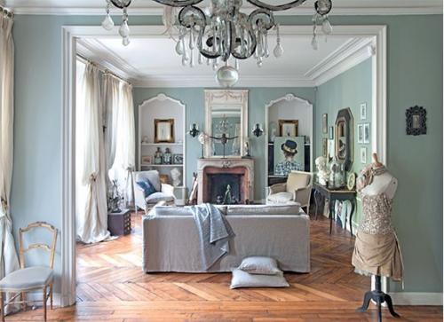 Salon d'inspiration campagne chic deux pièces formant grand espace