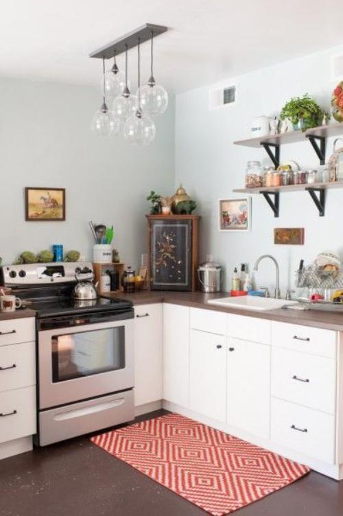aménagement petit espace coin cuisine à l'angle
