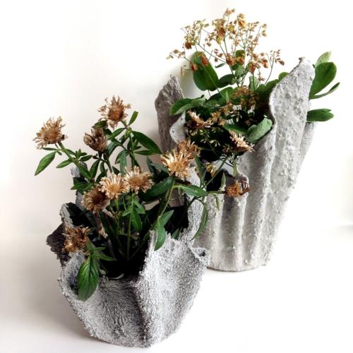 bricolage jardin cache-pot ciment diy