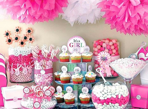 candy bar décoration baby shower fille