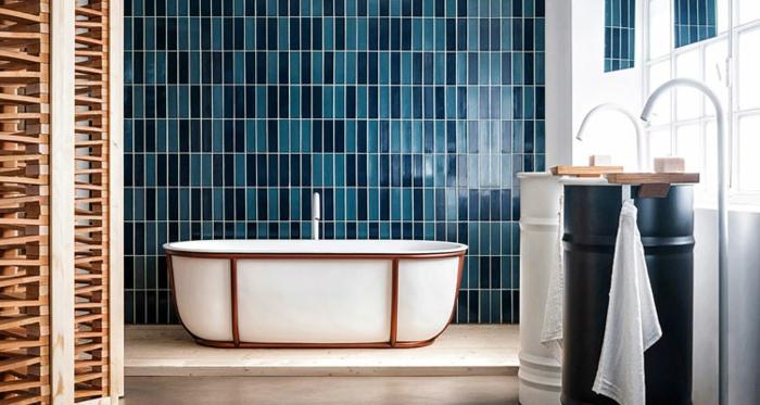 carrelage salle de bains quelle couleur associer au bleu pétrole