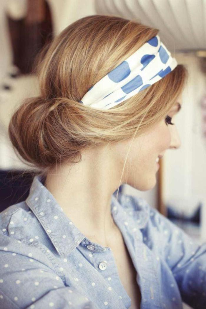 coiffure élégante nouer foulard cheveux