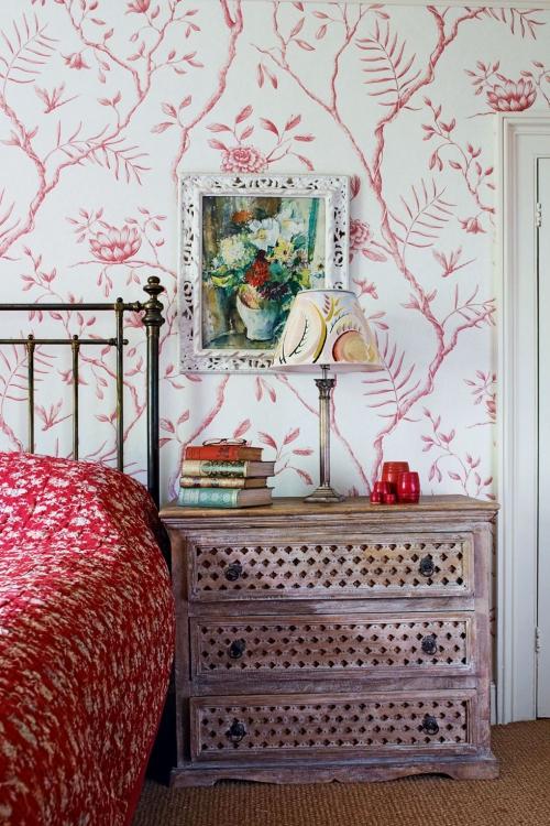 déco avec motifs mur à motifs floraux