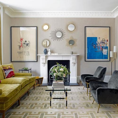déco avec motifs style vintage canapé et fauteuils