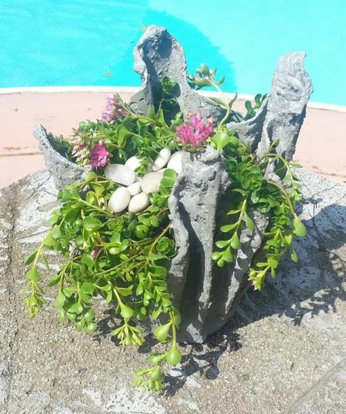 déco jardin diy cache-pot ciment