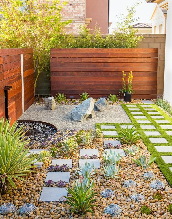 déco petit jardin plantes succulentes