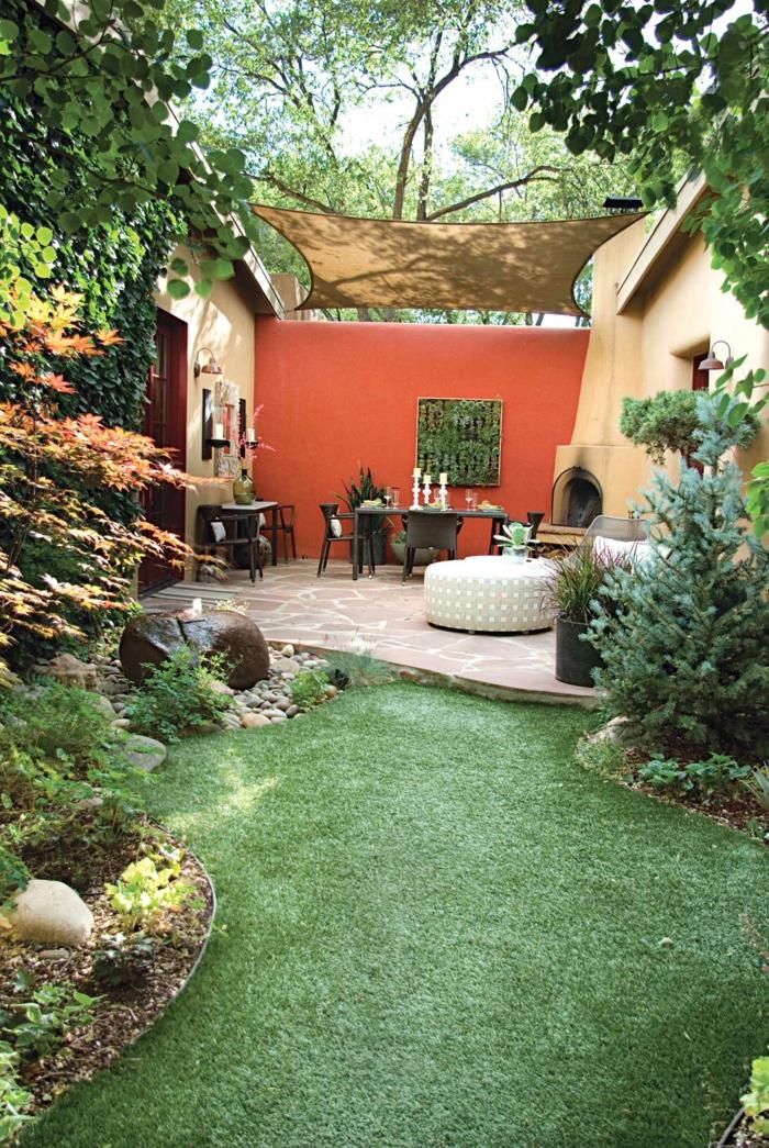 déco petit jardin voile d'ombrage