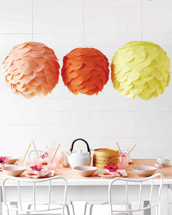 décoration baby shower lampes en papier colorées