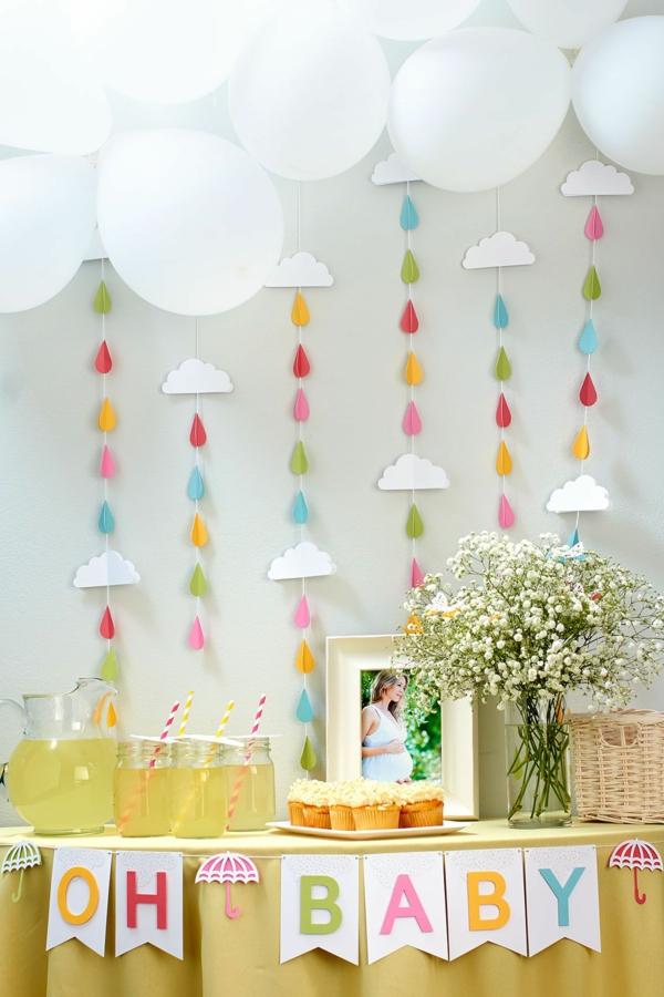 décoration baby shower printemps guirlandes et ballons