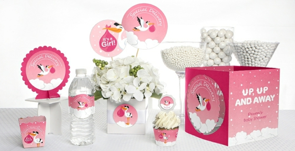 décoration baby shower thème cigogne