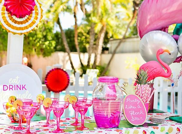 décoration baby shower thème flamant rose
