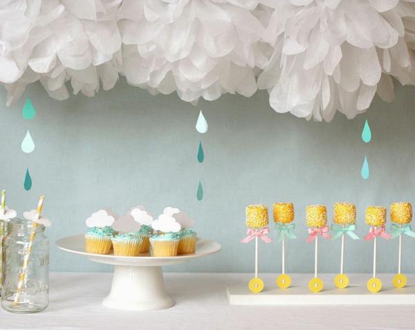 décoration baby shower thème nuages et pluie