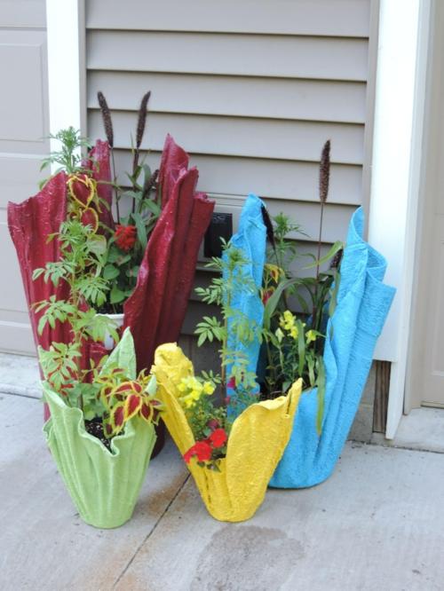 décorer le jardin diy cache-pot ciment