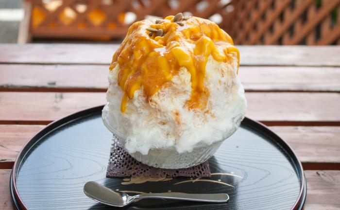 dessert frais été kakigori caramel
