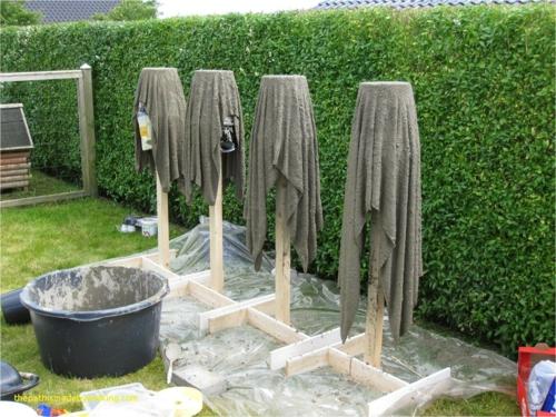 diy cache-pot ciment en utilisant une serviette de bain