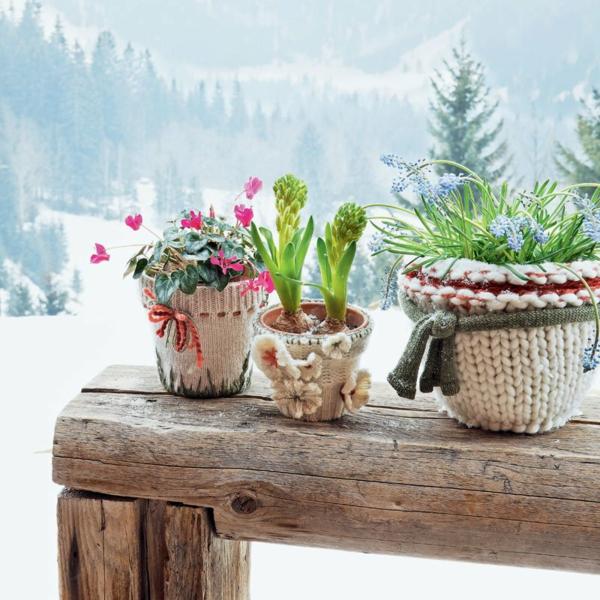 diy cache-pot pas cher tricot hiver